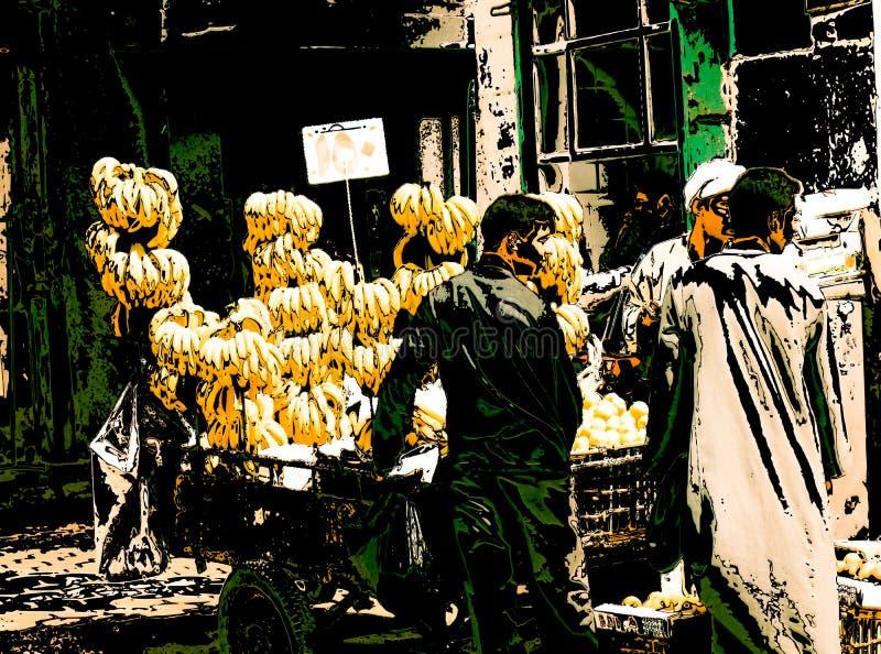 Marchands ambulants de banane, le Caire, Egypte illustration libre de droits