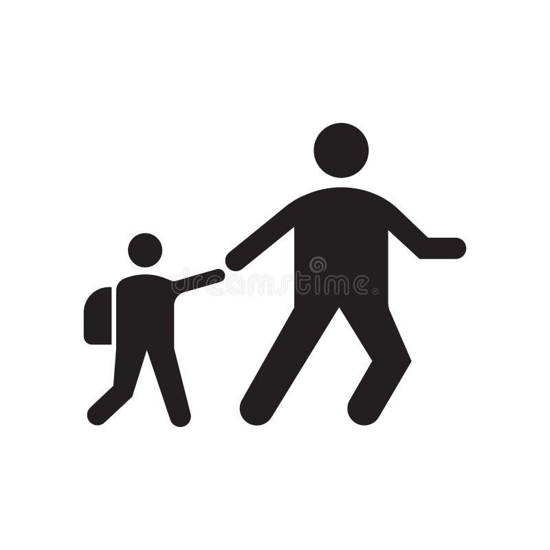 Marchant au signe et au symbole de vecteur d'icône d'école d'isolement sur le fond blanc, marchant au concept de logo d'école illustration stock