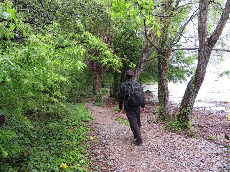 Marchant dans la nature - chez Ohrid, Macédoine du nord photographie stock libre de droits
