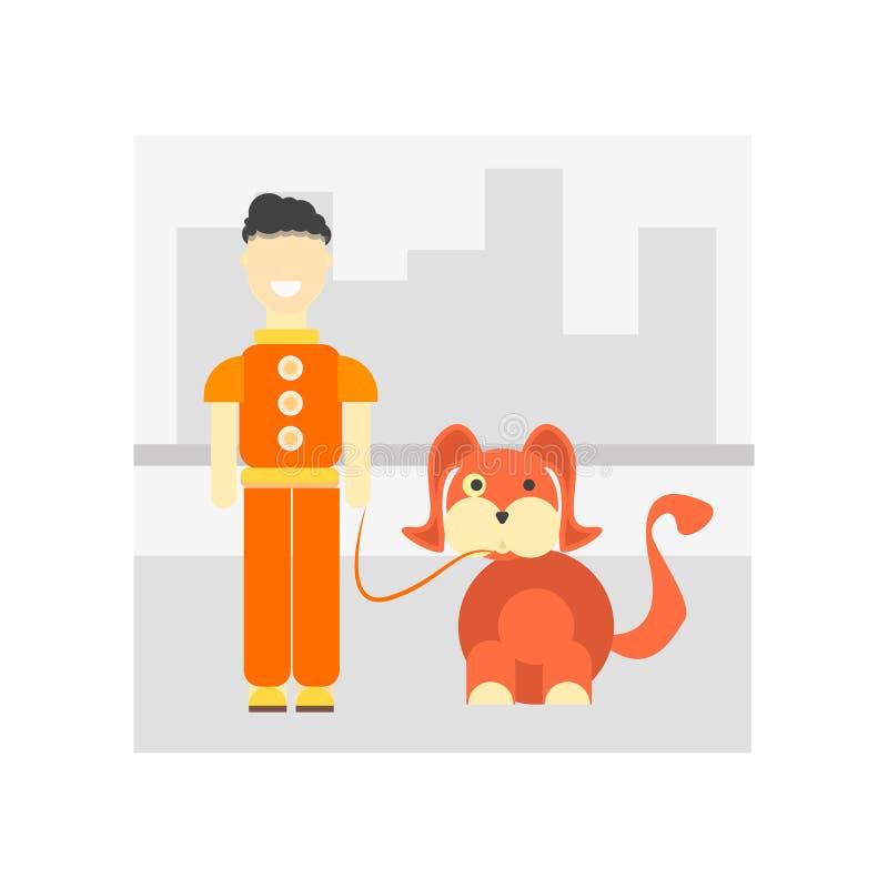 Marchant le signe et le symbole de vecteur d'icône de chien d'isolement sur le Ba blanc illustration libre de droits