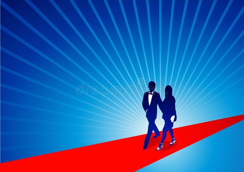 Marchant le tapis rouge illustration de vecteur