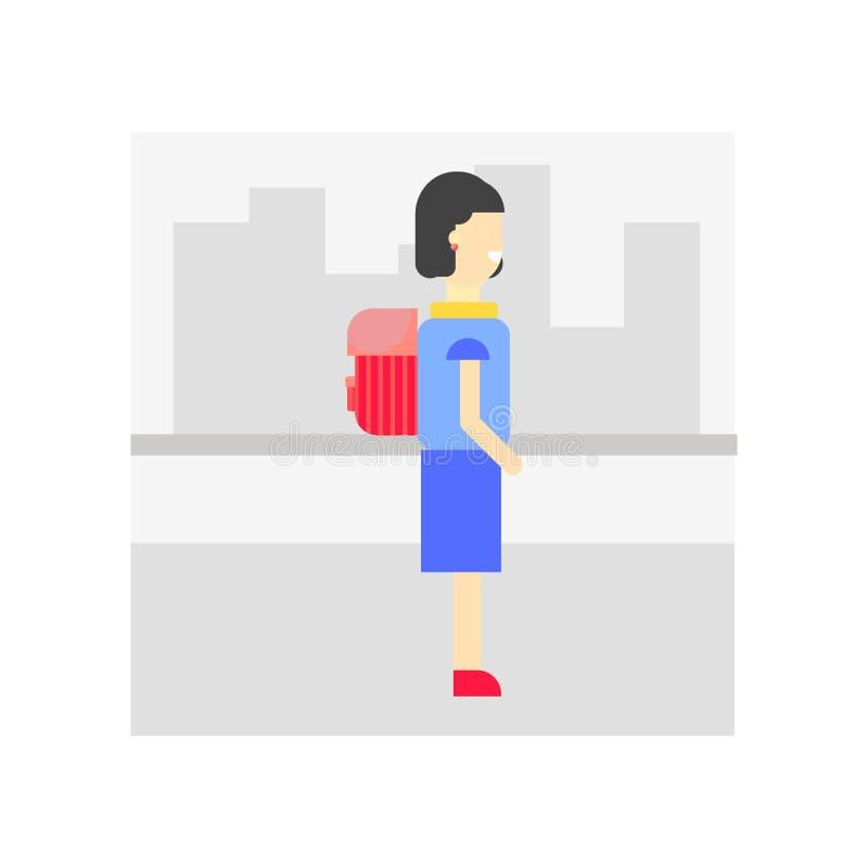 Marche au signe de vecteur d'icône d'école et symbole d'isolement sur le blanc illustration stock