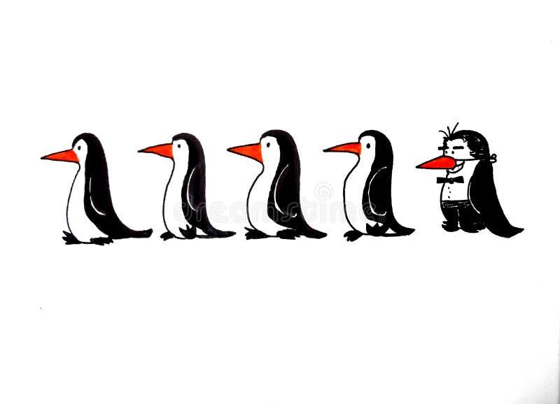 Marche avec des pingouins image libre de droits