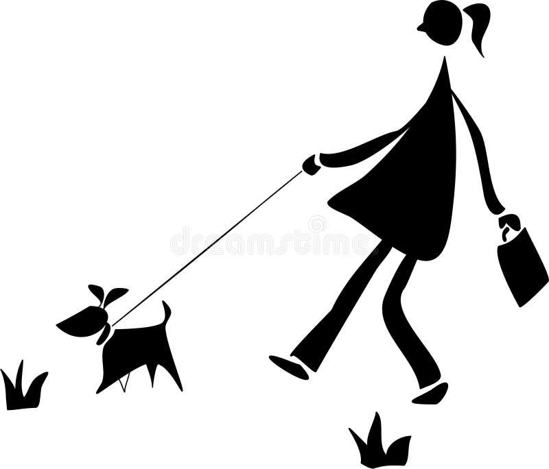 Marche avec un crabot illustration de vecteur
