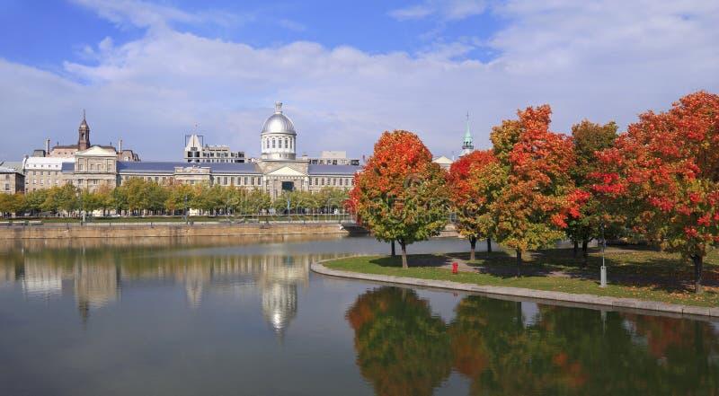 Marche Bonsecours, Stadhuis van Montreal in de herfst royalty-vrije stock fotografie