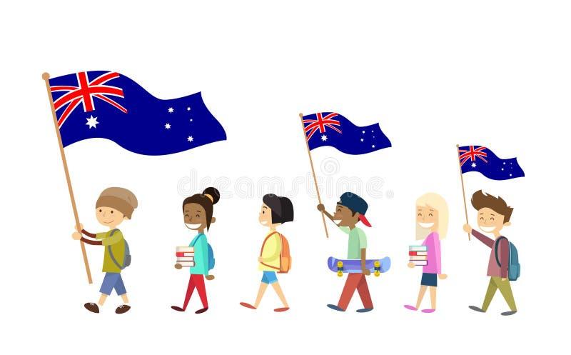 Marche d'enfants d'enfants de drapeau national de jour d'Australie illustration libre de droits