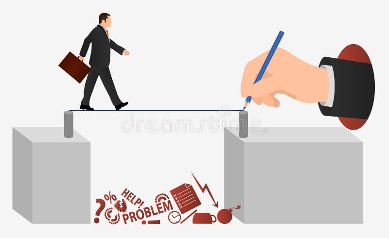 Marche d'hommes d'affaires en corde Illustration du vecteur de conception du risque Réussite du mouvement de bannières Un homme v illustration de vecteur