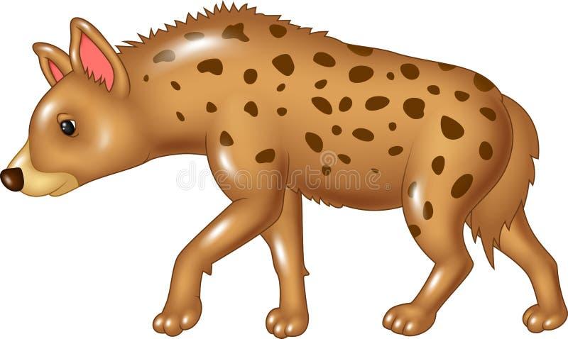 Marche d'hyène de bande dessinée d'isolement sur le fond blanc illustration de vecteur