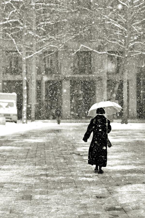 Marche dans la neige image stock