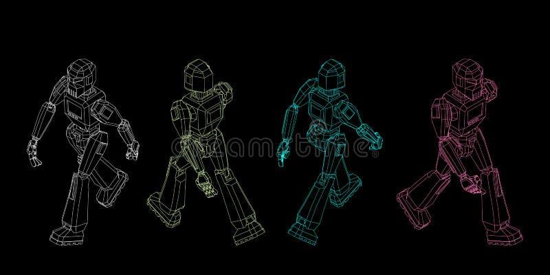 Marche de caractère de robot Illustration d'ensemble de vecteur illustration stock