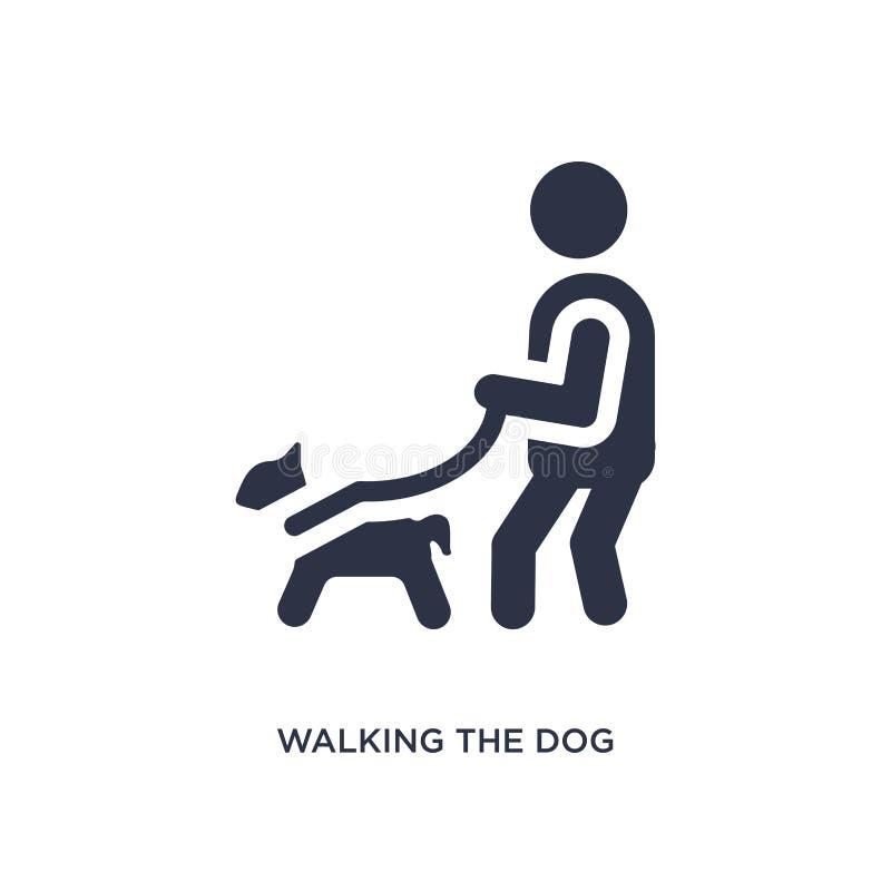 marche de l'icône de chien sur le fond blanc Illustration simple d'élément de concept de comportement illustration de vecteur