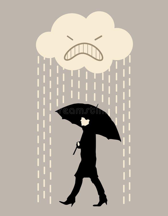 Marche de pluie illustration stock