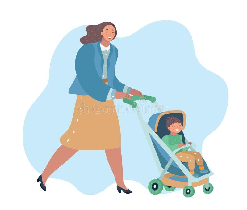 Marche de sourire de femme extérieure avec la poussette de bébé illustration libre de droits