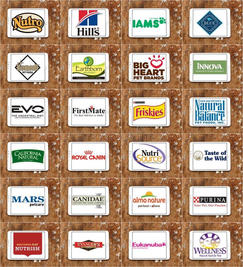 Marche e logos dell'alimento per animali domestici immagini stock libere da diritti