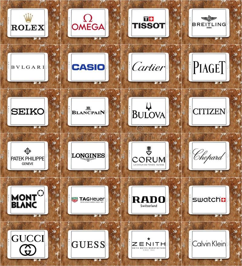Marche e logos famosi superiori degli orologi immagine stock