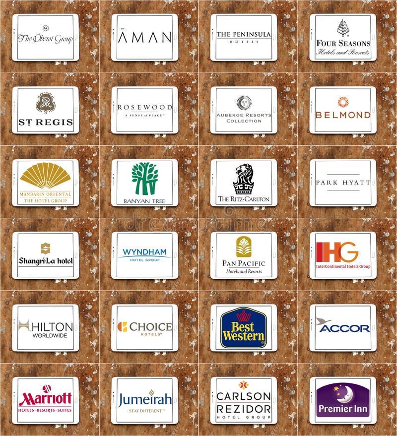 Marche famose superiori e logos delle catene della località di soggiorno e dell'hotel illustrazione vettoriale