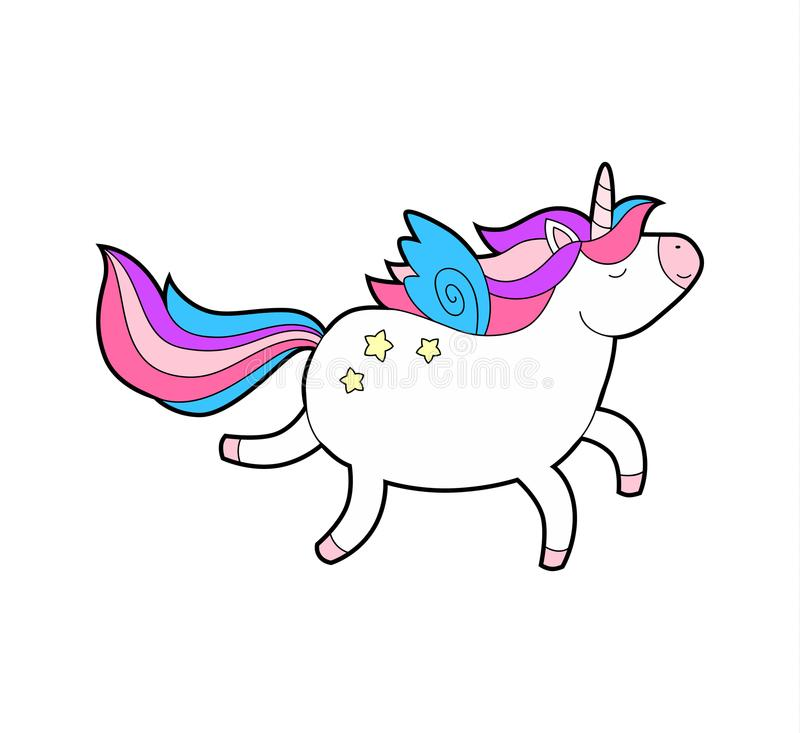 Marche heureuse de grosse licorne mignonne Animal magique de bande dessinée Klaxon d'arc-en-ciel, cheveux roses Symbole rêveur illustration stock