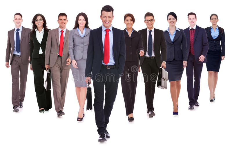 Marche heureuse réussie d'équipe d'affaires image libre de droits