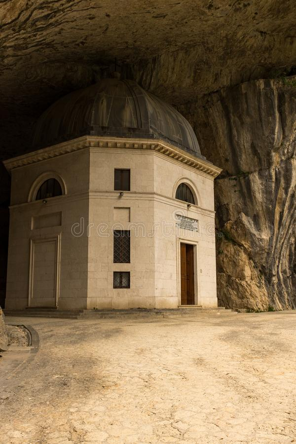 Marche, Italy, July, 26, 2017: The view of the church in the cave known as Temple of Valadier, the church is unique in. Marche, Italy, July, 26, 2017: The first stock photography