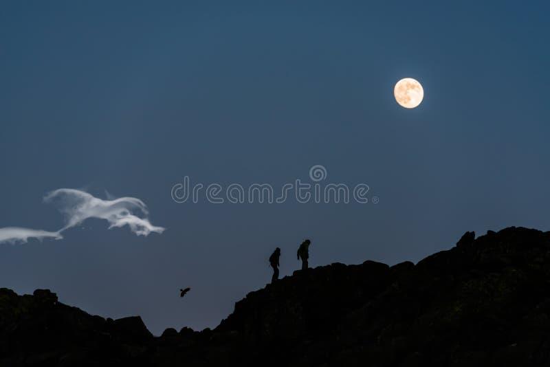 Marche sous la lune photos libres de droits