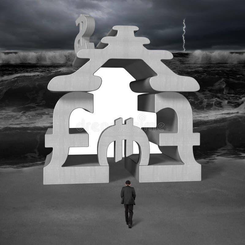 Marche vers l'argent concret empilant le bâtiment avec le tsunami illustration de vecteur