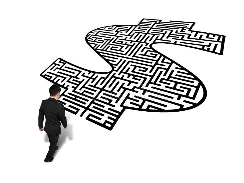 Marche vers le labyrinthe de forme d'argent illustration stock