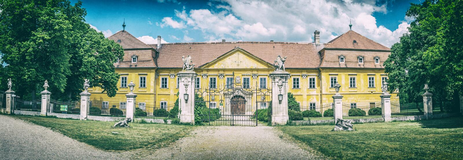 Marchegg castle, Austria, analog filter. Marchegg castle, Austria. Panoramic photo. Travel destination. Architectural scene. Analog photo filter with scratches royalty free stock photography
