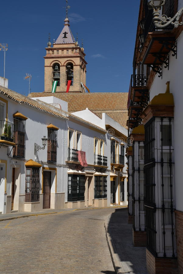 Marchena, Andalusia, Spain. Central street. Marchena, a moorish town of Andalusia, province of Seville, Spain. View of a central street, traditional andalusian stock photo