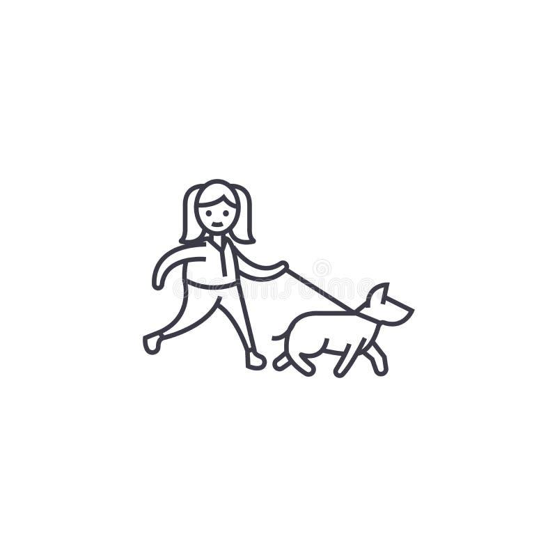 Marchent la ligne icône, le signe, illustration de vecteur de chien sur le fond, courses editable illustration stock