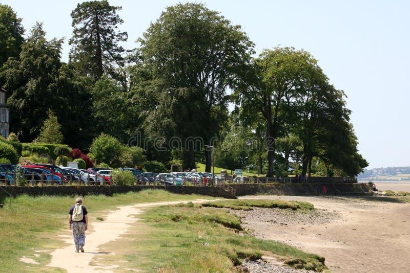 Marcheur sur le chemin de rivage par la promenade chez Arnside image libre de droits