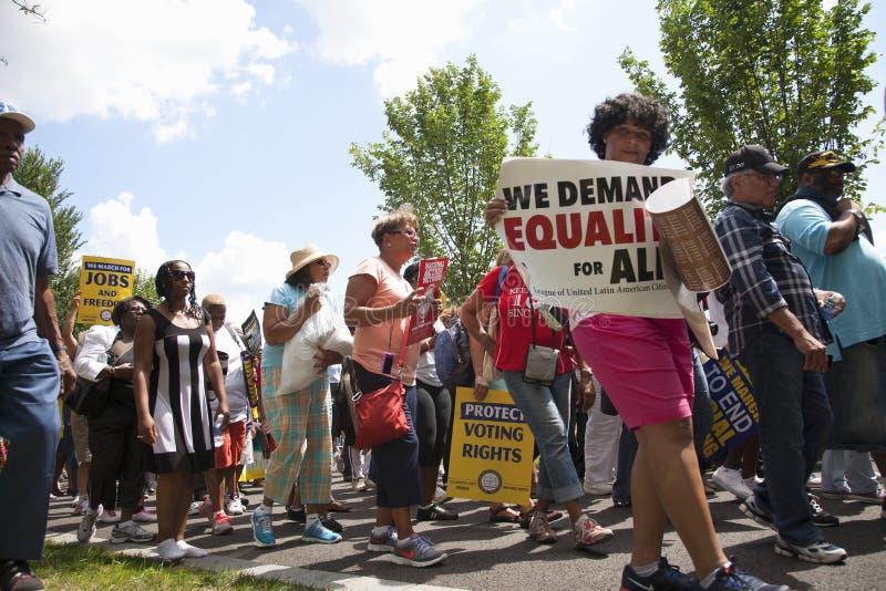 Marcheurs de droits civiques à l'action nationale image stock