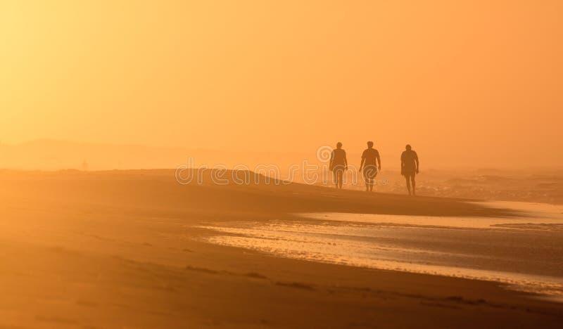 Marcheurs OBX OR de lever de soleil silhouettés par scène de plage photos libres de droits