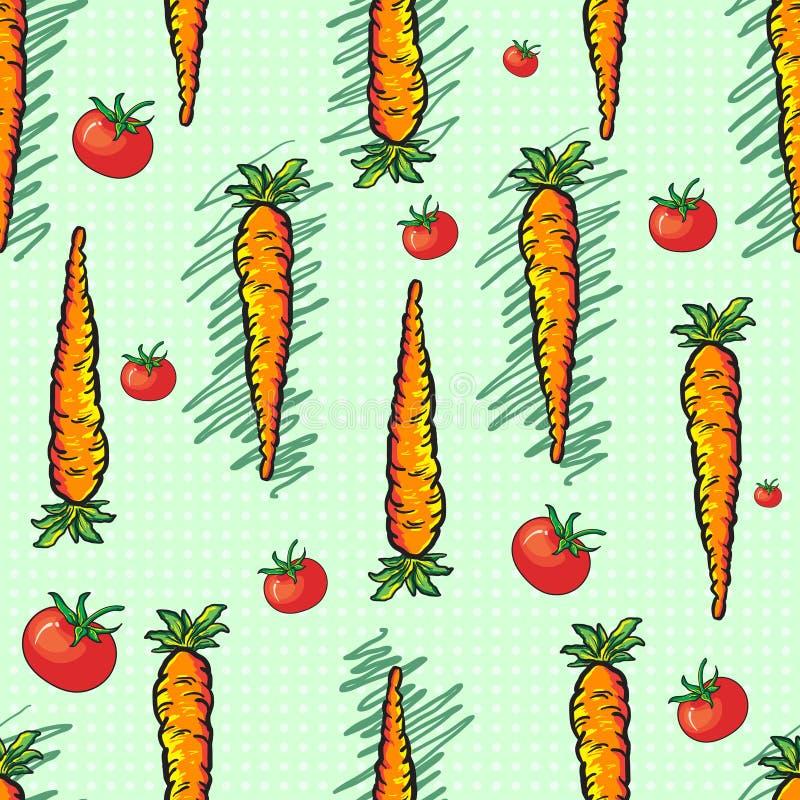 Marchewek i pomidorów bezszwowy wzór na jasnozielonych polkadot półdupkach royalty ilustracja