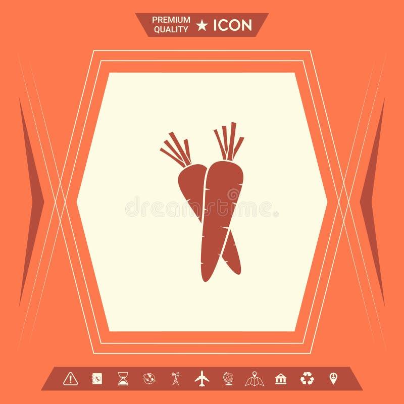Marchewka symbolu ikona ilustracja wektor