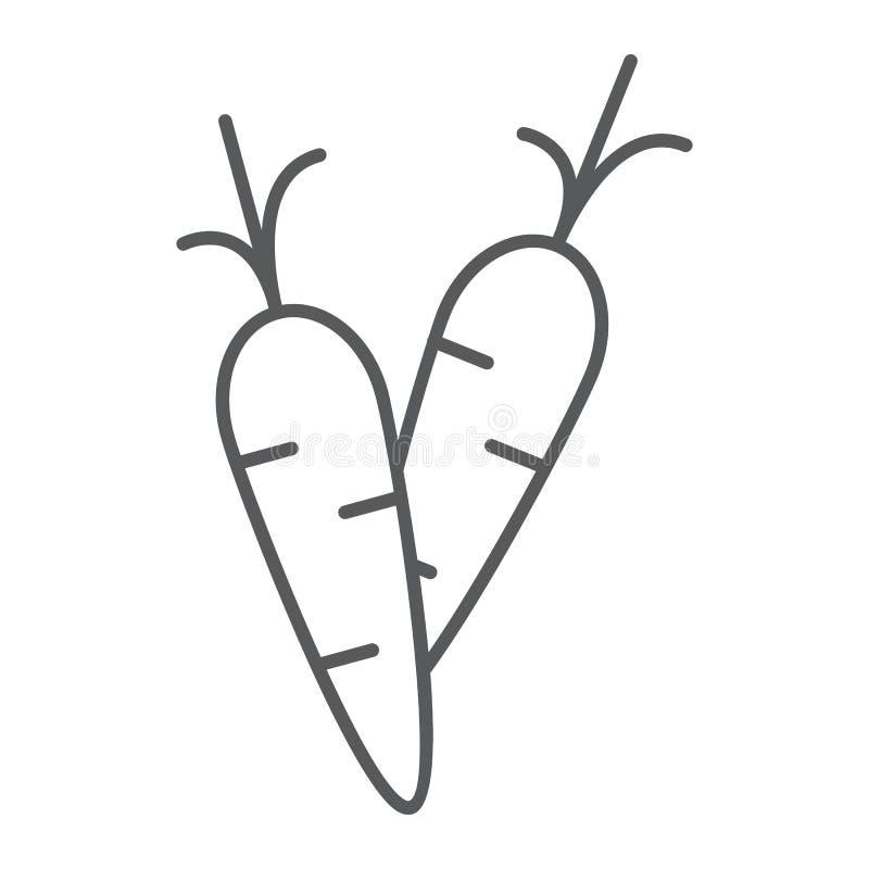 Marchewki cienka kreskowa ikona, jedzenie i warzywo, korzenia znak, wektorowe grafika, liniowy wzór na białym tle ilustracja wektor
