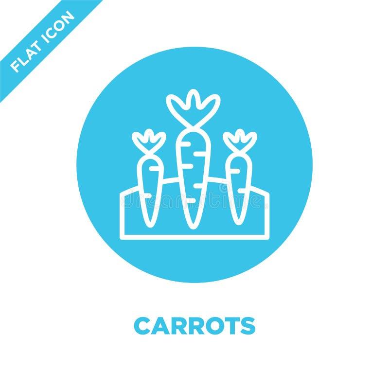 marchewki ikony wektor od sezonów inkasowych Cienka kreskowa marchewka konturu ikony wektoru ilustracja Liniowy symbol dla używa  ilustracji