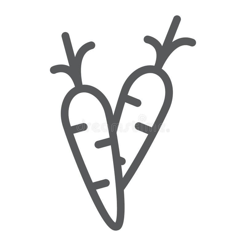 Marchewki kreskowa ikona, jedzenie i warzywo, korzenia znak, wektorowe grafika, liniowy wzór na białym tle royalty ilustracja