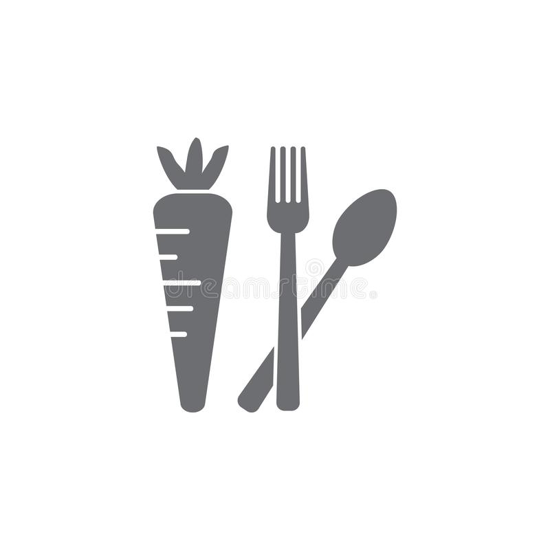 marchewki z rozwidlenia i łyżki ikoną Prosta element ilustracja marchewki z rozwidlenia i łyżki symbolu projekta szablonem może u ilustracji