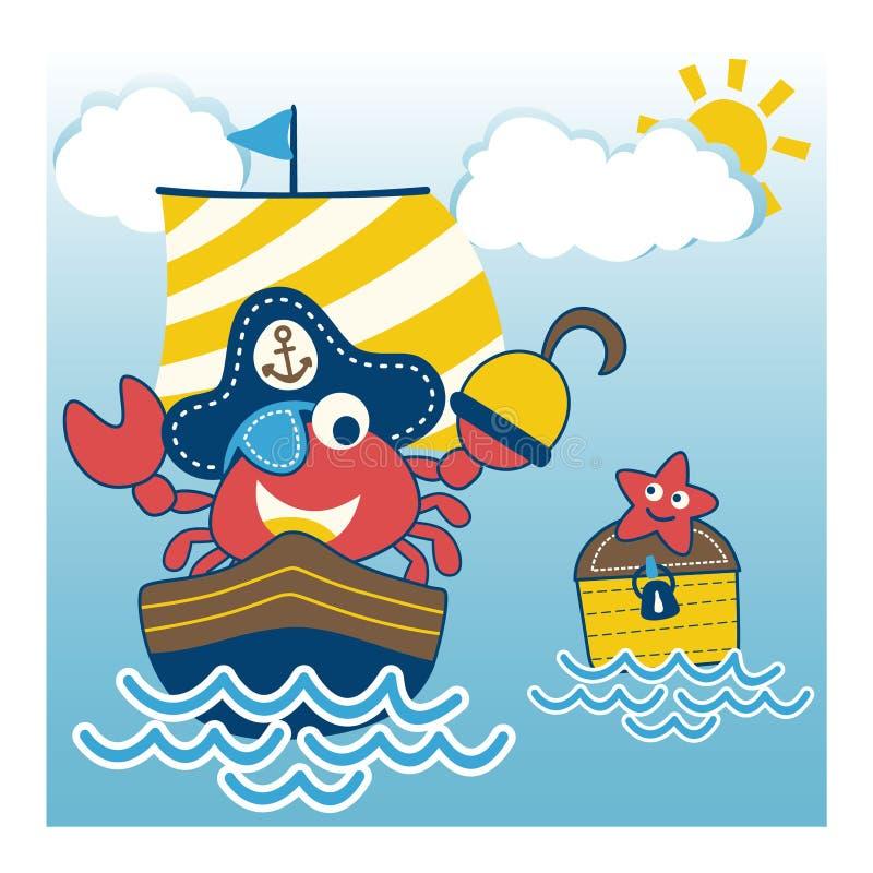 Marchez en crabe le pirate drôle sur le voilier illustration stock