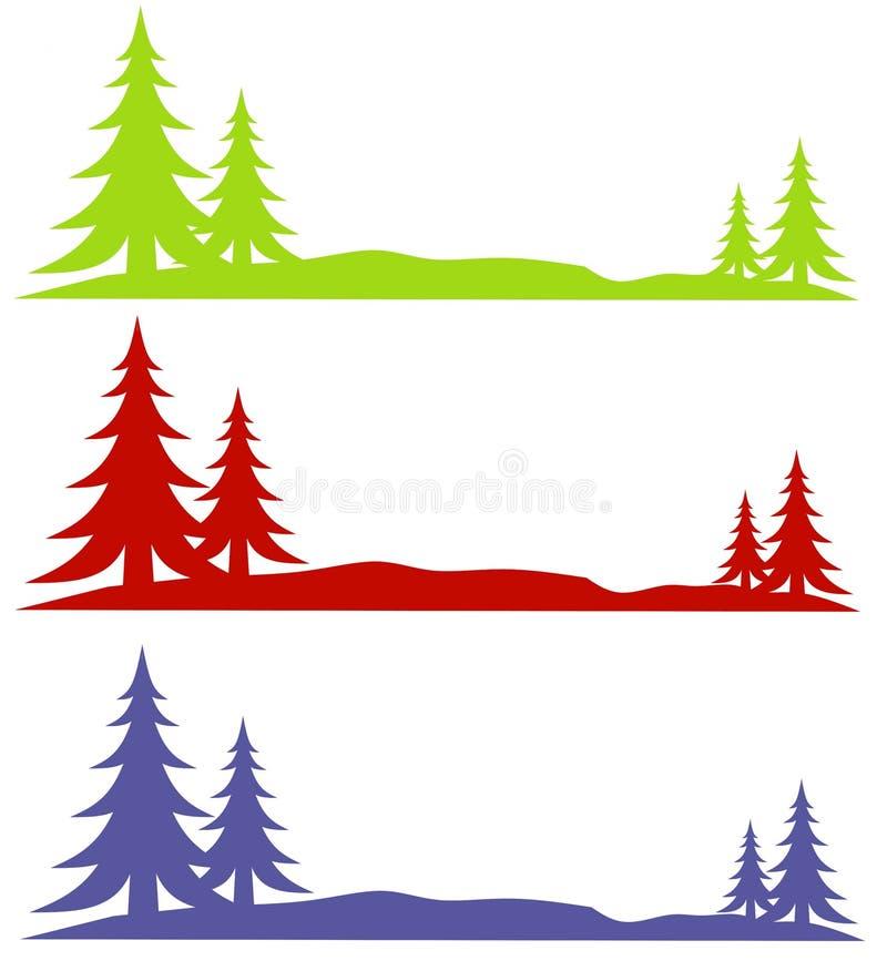 Marchi degli alberi della neve di inverno illustrazione vettoriale