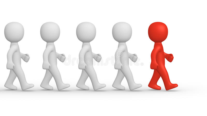 Marching. 3d men with leader stock illustration