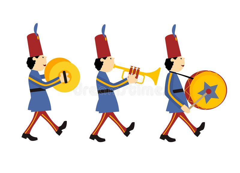 Marching band. With different music instruments stock illustration