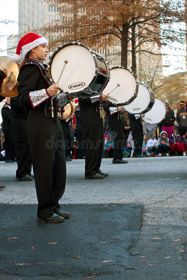 Marching Band Bass Drummers Perform In Atlanta Christmas Parade ...