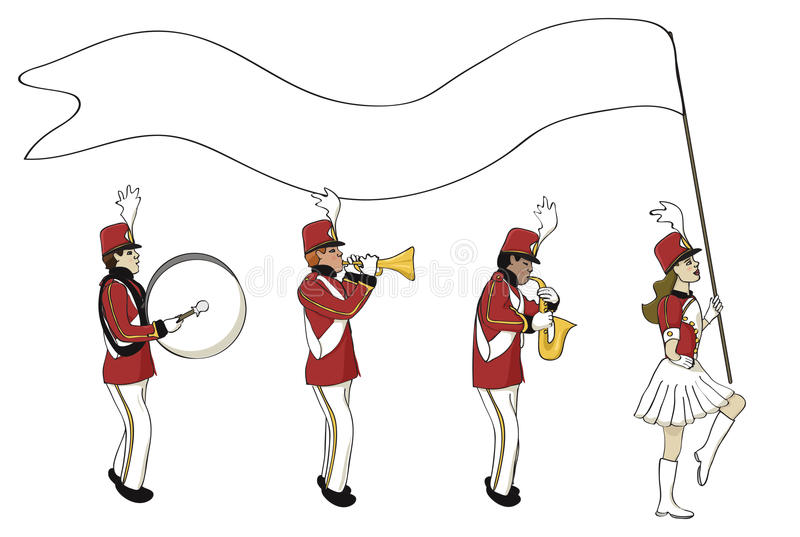 Marching band with blank banner stock illustration