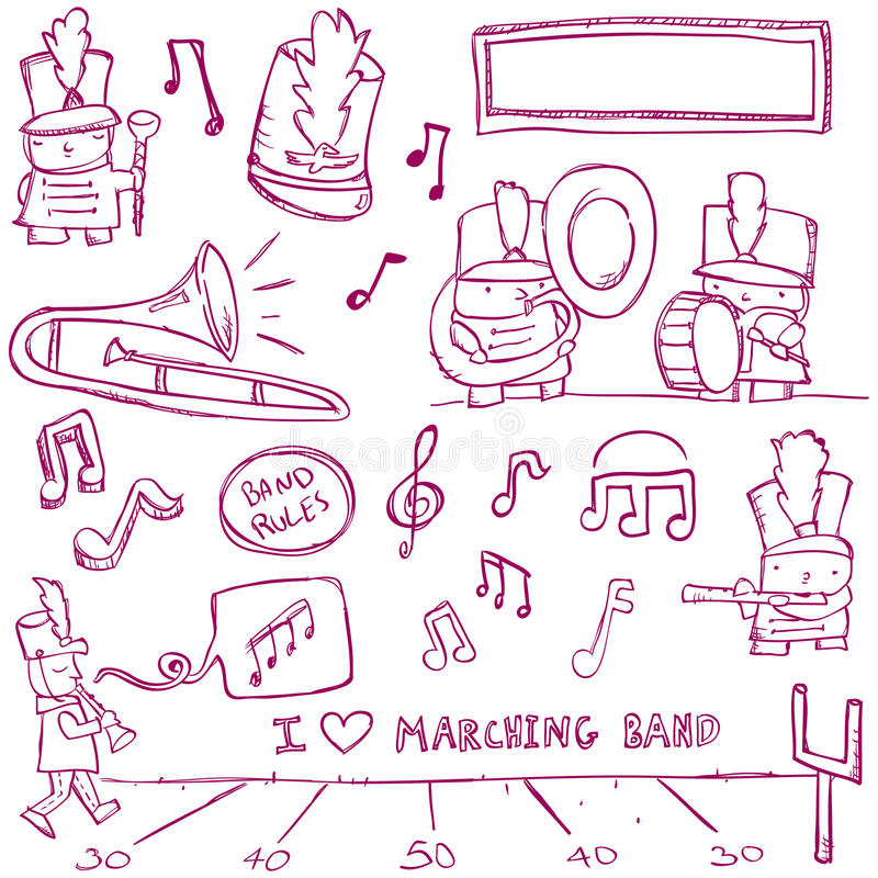 Download Marching Band Doodles stock vector. Illustration of player - 16625995
