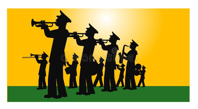 Marching band on the field stock illustration