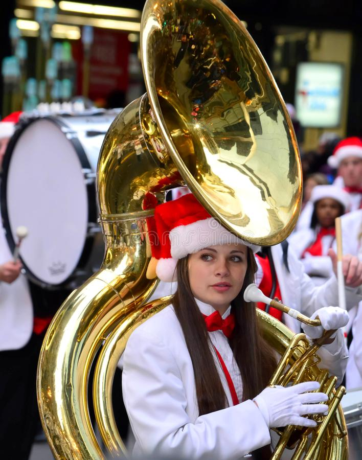 Free Marching Band In Chicago Thanksgiving Street Parade Stock Image - 110421421