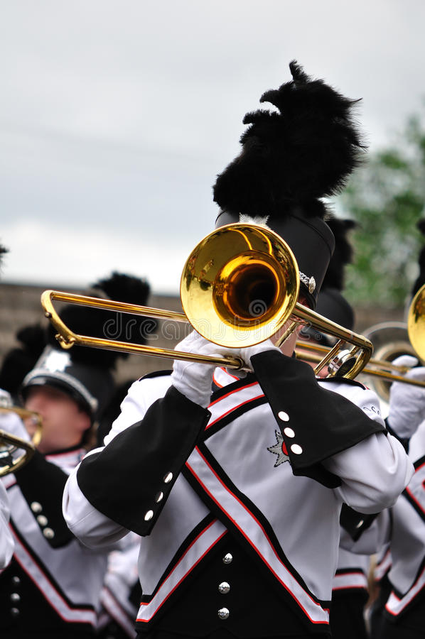 Free Marching Band Performer Playing Trombone In Parade Stock Image - 10005261