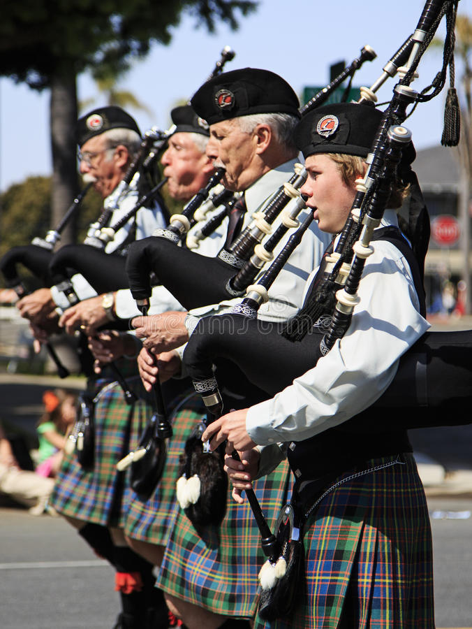 Marching band at St. Patrick's Day Parade stock image