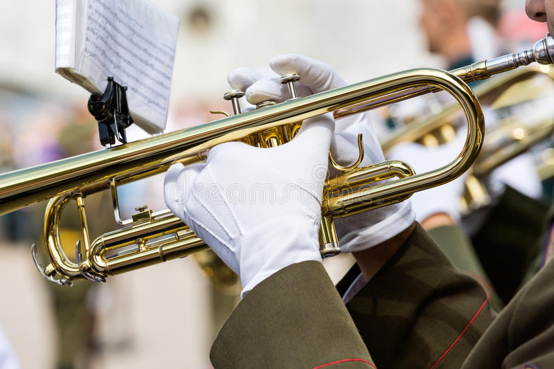 Marching band trumpeter stock photography